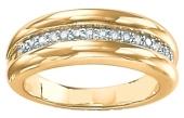 Gold channel set diamond rings