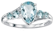 pear shaped diamond ring with blue stones