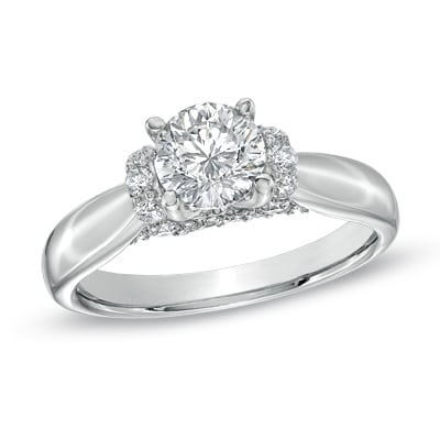 A 2 carat diamond ring with accent stones