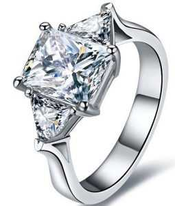 Square shaped 3 carat diamond ring price