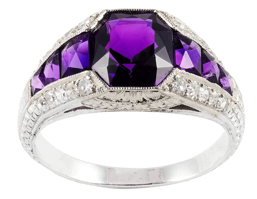 Uniquely contrasting colors with amethyst and diamond ring
