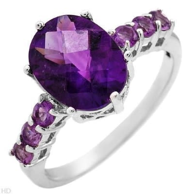 The color of royalty on amethyst and diamond ring