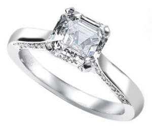 Unique asscher cut diamond rings