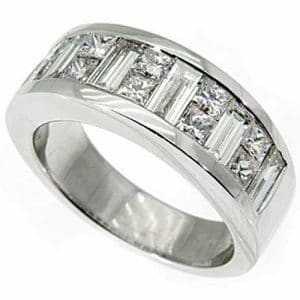 Bezel set baguette diamond rings