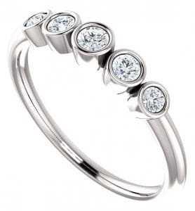 Unique bezel set diamond rings