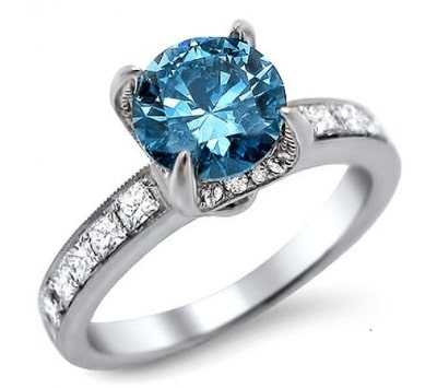 Blue diamond ring with accent stones