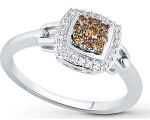 chocolate diamond ring with accent stones