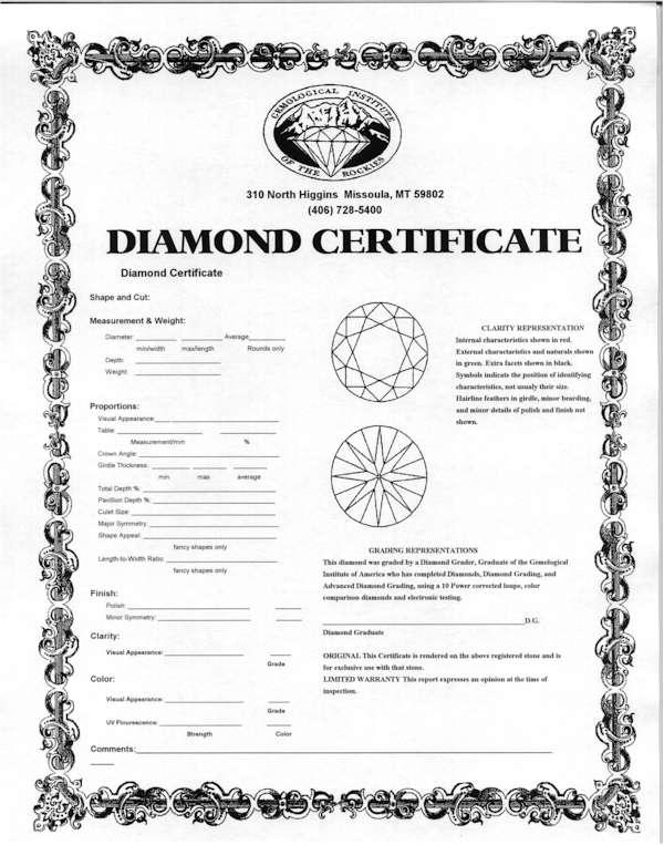 A sample diamond certificate