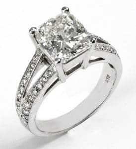 Squared cut designer diamond ring