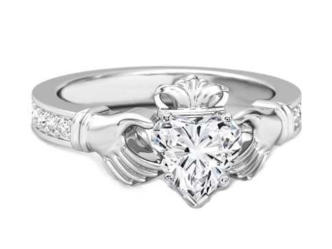 White gold diamond claddagh rings