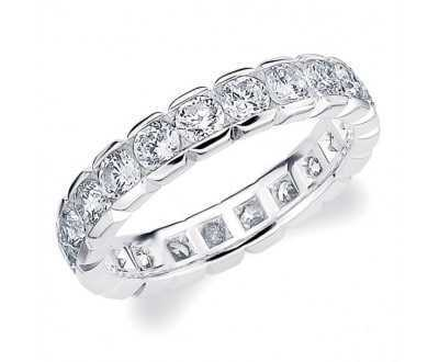 Bevel design diamond eternity ring
