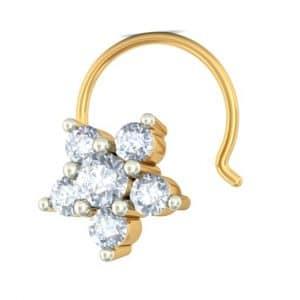 Star shaped diamond nose ring