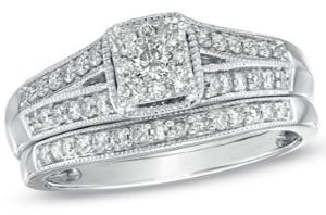 diamond wedding rings set with square shaped center stone