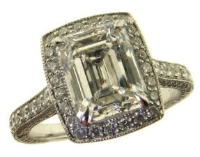 Square shaped emerald cut diamond engagement ring