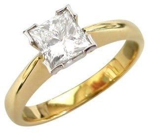 gold diamond engagement ring with square center stone