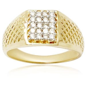 yellow gold mens diamond ring