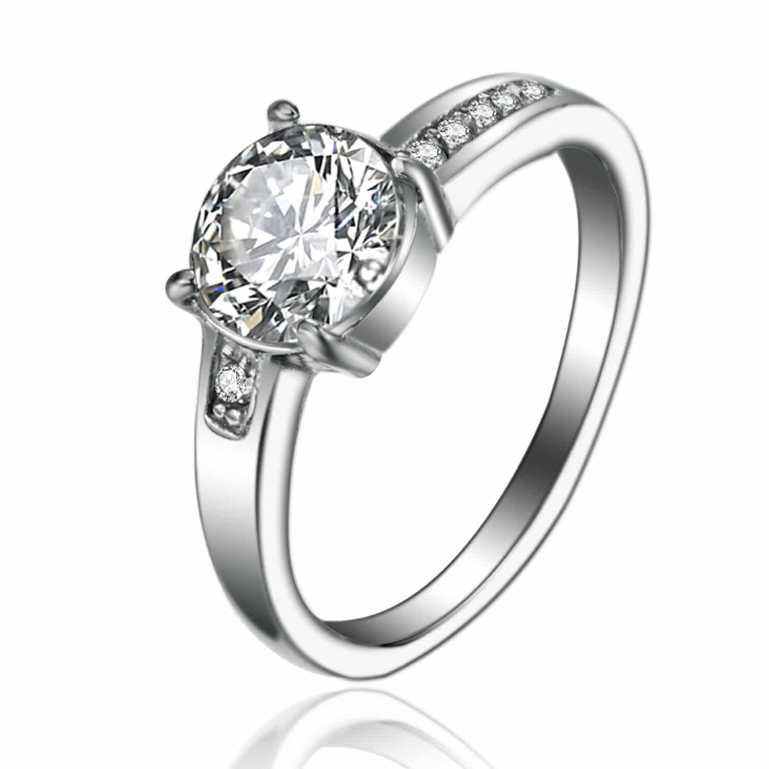 White gold non diamond engagement rings with swarovski crystals