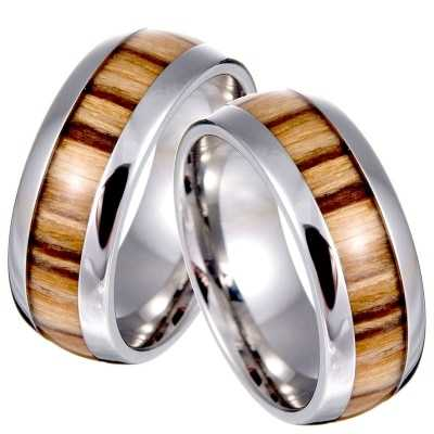 Wooden non diamond engagement ring in white gold