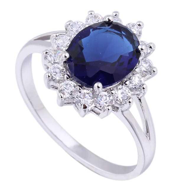 Sapphire non diamond engagement rings with zircon side stones