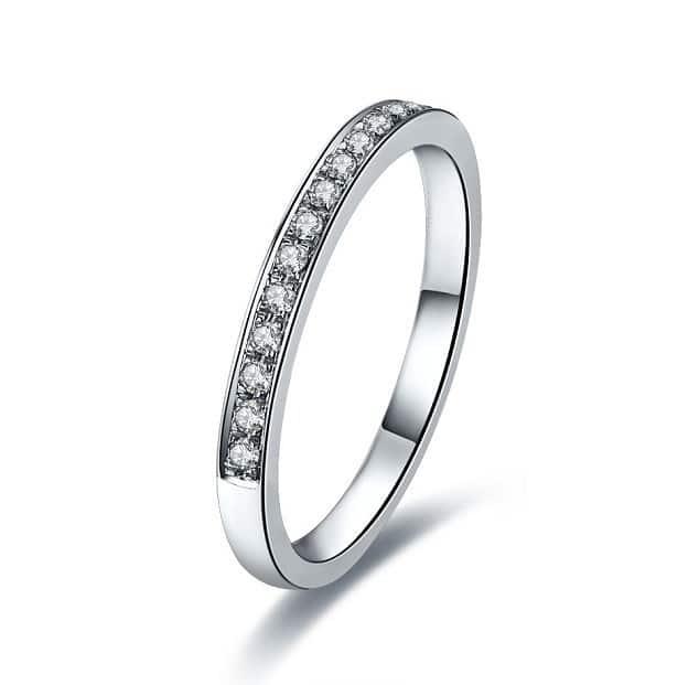 Simple pave diamond engagement ring