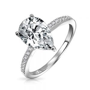 pear shaped diamond engagement ring with side stones