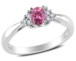Round shaped pink diamond engagement rings