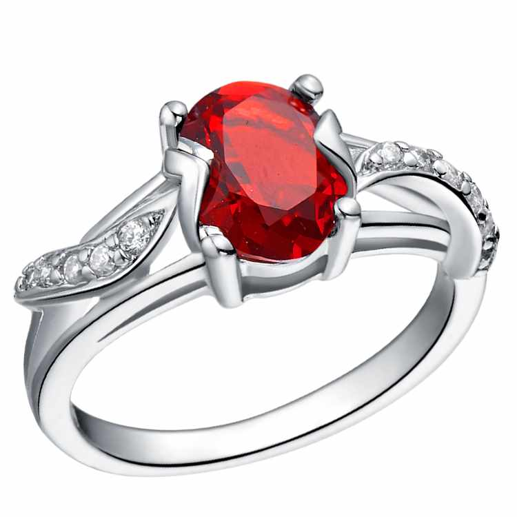 Oval red diamond ring with side stones