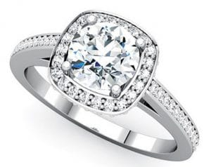 cushion shaped diamond ring with side stones