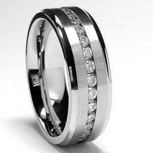 mens titanium diamond ring