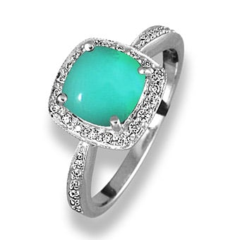 turquoise diamond ring with side stones