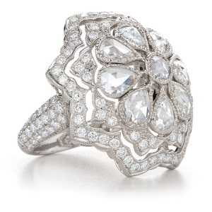 diamond flower ring with accent stones