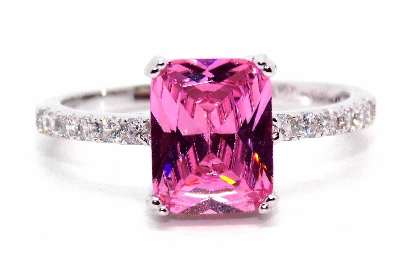 pink sapphire diamond ring with side stones