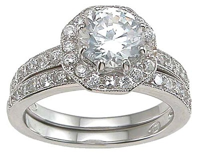 diamond wedding ring set with round stones